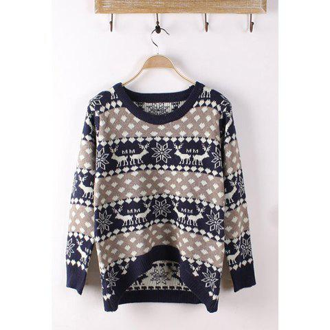Outfit Long Sleeves Round Neck Cartoon Deer And Snowflake Pattern Asymmetrical Hem Stylish Women's Elk And Snowflake Print Christmas Sweater