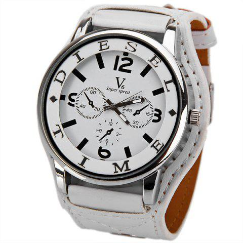 Outfits V6 DL Quartz Watch with 4 Arabic Numbers + Strips Indicate Round Dial Leather Watch Band for Women - White