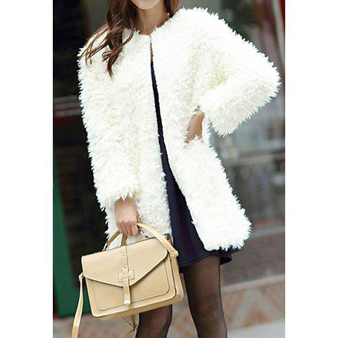 Sale Fashionable Style Scoop Collar Solid Color Lamb Wool Long Sleeve Women's Jacket