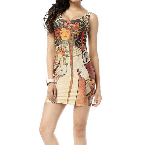 2018 Sleeveless Scoop Neck Low Cut Hand Painted Girl