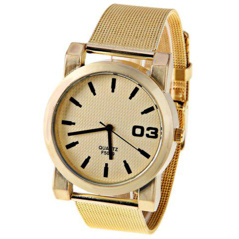 Cheap No.F5039 Men Quartz Watch 1 Arabic Numbers and Strips Indicate Round Dial Gold-plated Watchband - Red Strips