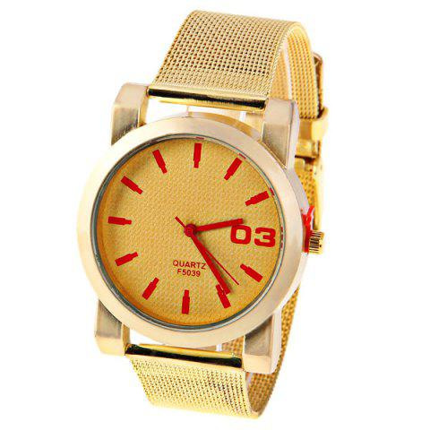 Hot No.F5039 Men Quartz Watch 1 Arabic Numbers and Strips Indicate Round Dial Gold-plated Watchband - Red Strips