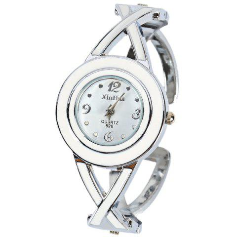 Fashion XinHua 826 Quartz Watch with 4 Arabic Numbers and Mini Dots Indicate Steel Watch Band for Women - White