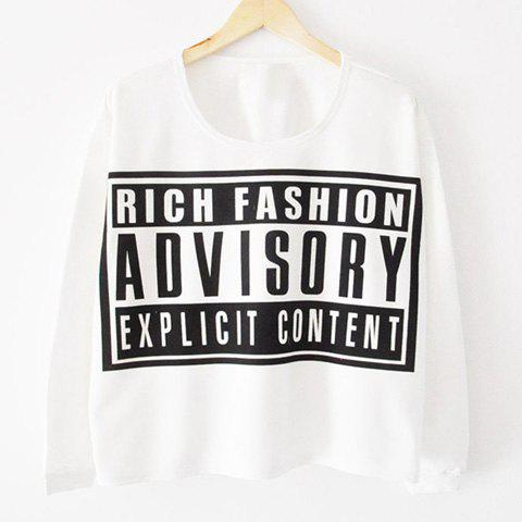 Affordable Letter Print Long Sleeves Casual Style Cotton Blend Women's T-Shirt