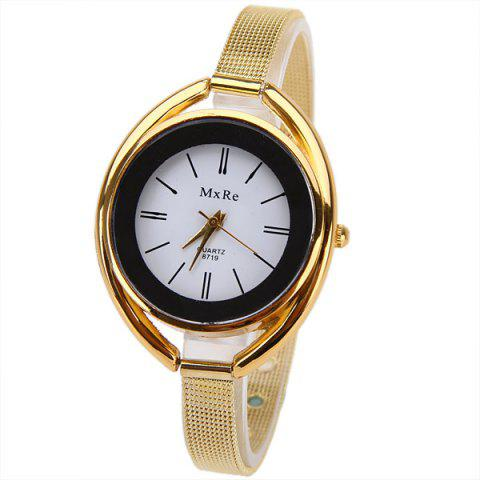 Chic MxRe Quartz Watch with Strips Hour Marks Steel Watch Band for Women - Golden