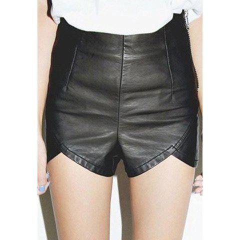 Affordable Fashion Style Slimming High Waist Wavy Hem Over Hip PU Leather Shorts For Women