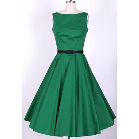 Trendy Vintage Scoop Neck Pleated Sleeveless Swing Dress For Women GREEN M