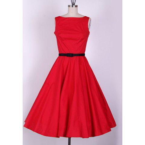 Chic Vintage Scoop Neck Sleeveless Red Pleated Country Dress For Women