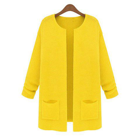 Shop Pockets Long Sleeves Acrylic Solid Color Ladylike Style Women's Cardigan