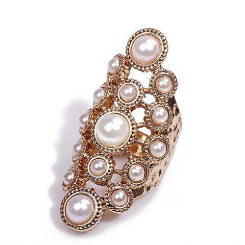 Store Gorgeous Faux Pearl Design Openwork Alloy Knuckle Ring For Women