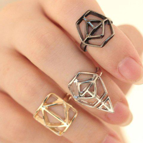 Buy 3PCS Of Characteristic Openwork Geometric Shape Alloy Knuckle Rings For Women