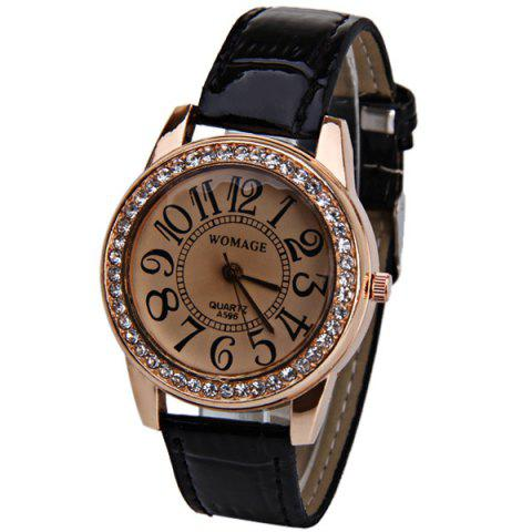 Fancy Womage 596 Quartz Watch Time Showed By 12 Arabic Numbers Leather Watch Band for Women - Black