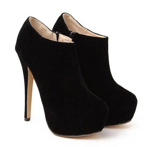 ff0c44d99cb4 2019 Stylish Black Suede And Sexy High Heel Design Women s Ankle Boots
