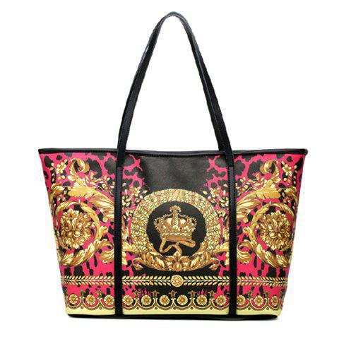 Latest Vintage Floral Print and Splicing Design Women's Leather Handbag