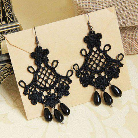 Trendy Pair of Retro Beads Embellished Lace Drop Earrings BLACK