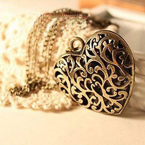 Vintage Hollow Design Heart Shaped Pendant Alloy Sweater Chain Necklace For Women - AS THE PICTURE