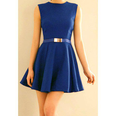 Sale Zipper Sleeveless Simple Style Polyester Round Neck Women's Dress (Without Belt)