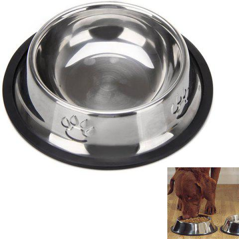 High Quality Stainless Steel Pet Bowl with Dog Footprints Pattern (15cm) - Red - S
