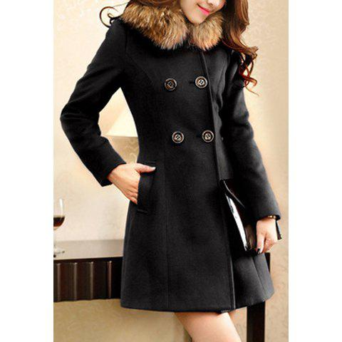 Sale Ladylike Style Long Sleeves Worsted Double-Breasted Women's Coat