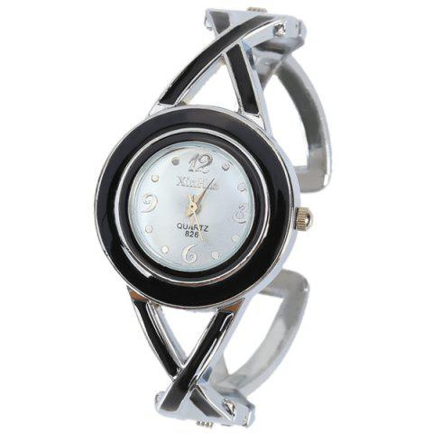 Affordable XinHua 826 Quartz Watch with 4 Arabic Numbers and Mini Dots Indicate Steel Watch Band for Women - White