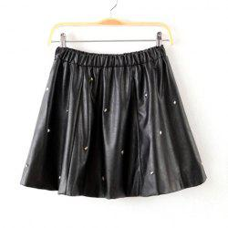 Elastic Waist Nail Bead Ruffles PU Leather Ladylike Women's Skirt -