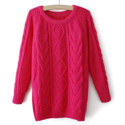 Long Sleeves Round Neck Retro Style Cable Knit Loose-Fitting Ladylike Women's Sweater -