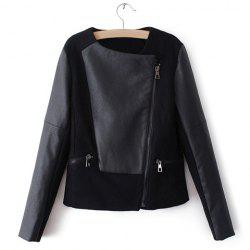 Slim Fit Long Sleeve PU Leather Splicing Black Women's Jacket -