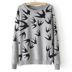 Casual Style Round Neck Swallow Print Contrast Color Long Sleeve T-Shirt For Women -
