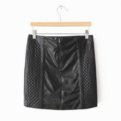 Solid Color Sexy Style PU Leather Women's Skirt -