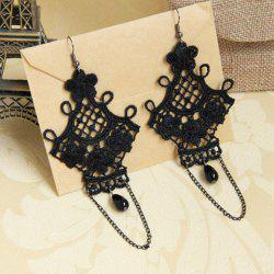 Pair of Retro Flower Bead Tassel Openwork Drop Earrings - BLACK