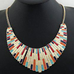 Statement Alloy Fan Shaped Pendant Necklace - COLOR ASSORTED