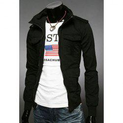 Fashion Slimming Stand Collar Multi-Pocket Long Sleeves Cotton Blend Jacket For Men - BLACK