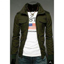 Fashion Slimming Stand Collar Multi-Pocket Long Sleeves Cotton Blend Jacket For Men - ARMY GREEN M
