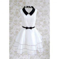 Vintage Doll Collar Splicing Floral Embroidery Women's Dress With A Bow Tie -
