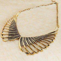 Vintage Bead Hollow Out Design Alloy Fake Collar Necklace -