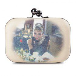 Party Beauty Print and Kiss-Lock Closure Design Women's Evening Bag -