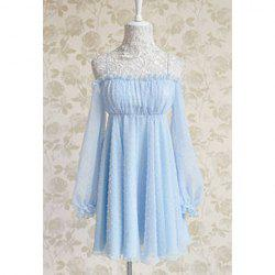 Vintage Noodle Strap Ruffled Embroidery Backless Chiffon Women's Dress -