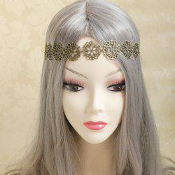 Exquisite Hollow Flower Embellished Alloy Hairband For Women - LIGHT CAMEL
