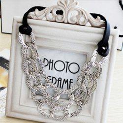 Exaggerated Style Openwork Collar Shape Design Black Rope Decorated Necklace For Women - AS THE PICTURE