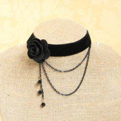 Elegant Faux Crystal and Tassel Design Velvet Flower Shape Necklace For Women -