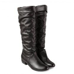 British Style Solid Color and Ruffle Design Women's Knee-High Boots -