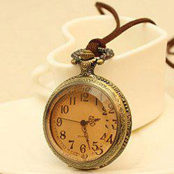 Vintage Figured Pocket Watch Pendant Sweater Chain Necklace -