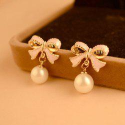Pair of Alloy Bowknot Faux Pearl Pendant Earrings