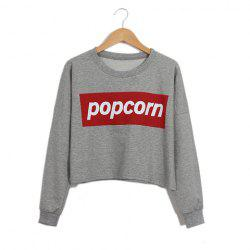 Long Sleeves Round Neck Letters Pattern Short Loose-Fitting Casual Women's Sweater -