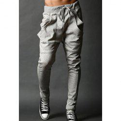 Casual Slimming Lace-Up Large Pocket Solid Color Cotton Blend Pants For Men - LIGHT GRAY