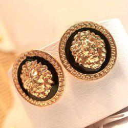 Pair Of Vintage Lion Head Embellished Round Design Earrings For Women -