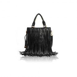 Vintage Style Solid Color and Tassels Design Women's Street Level Handbag