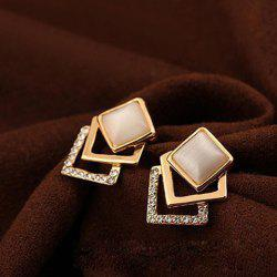 Fake Opal Embellished Square Earrings -