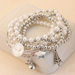 6 PCS of Faux Pearl Decorated Star Pendant Charm Bracelets - COLOR ASSORTED