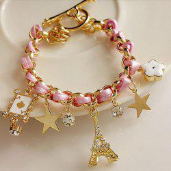 Stylish Multielement Star Flower Tower Pendant Charm Bracelet For Women - PINK